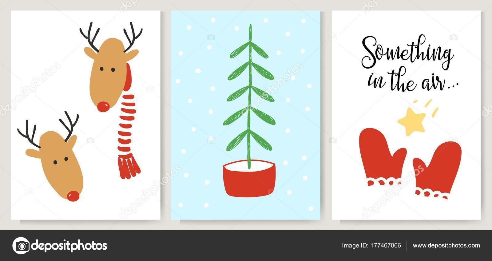 Cute Xmas Cards Posters Letterings In Cartoon Style Deer