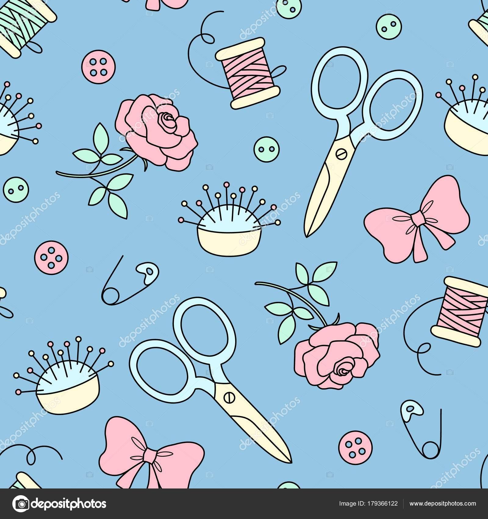 Nahtlose Muster mit Hand gezeichneten Nähen Doodle. Mode-Hintergrund ...