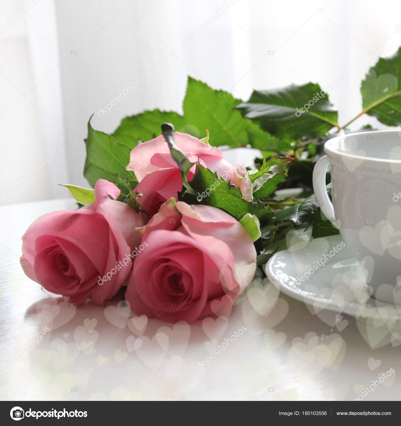 Pink Roses And White Cup Of Tea Good Morning Bokeh Effect Hearts