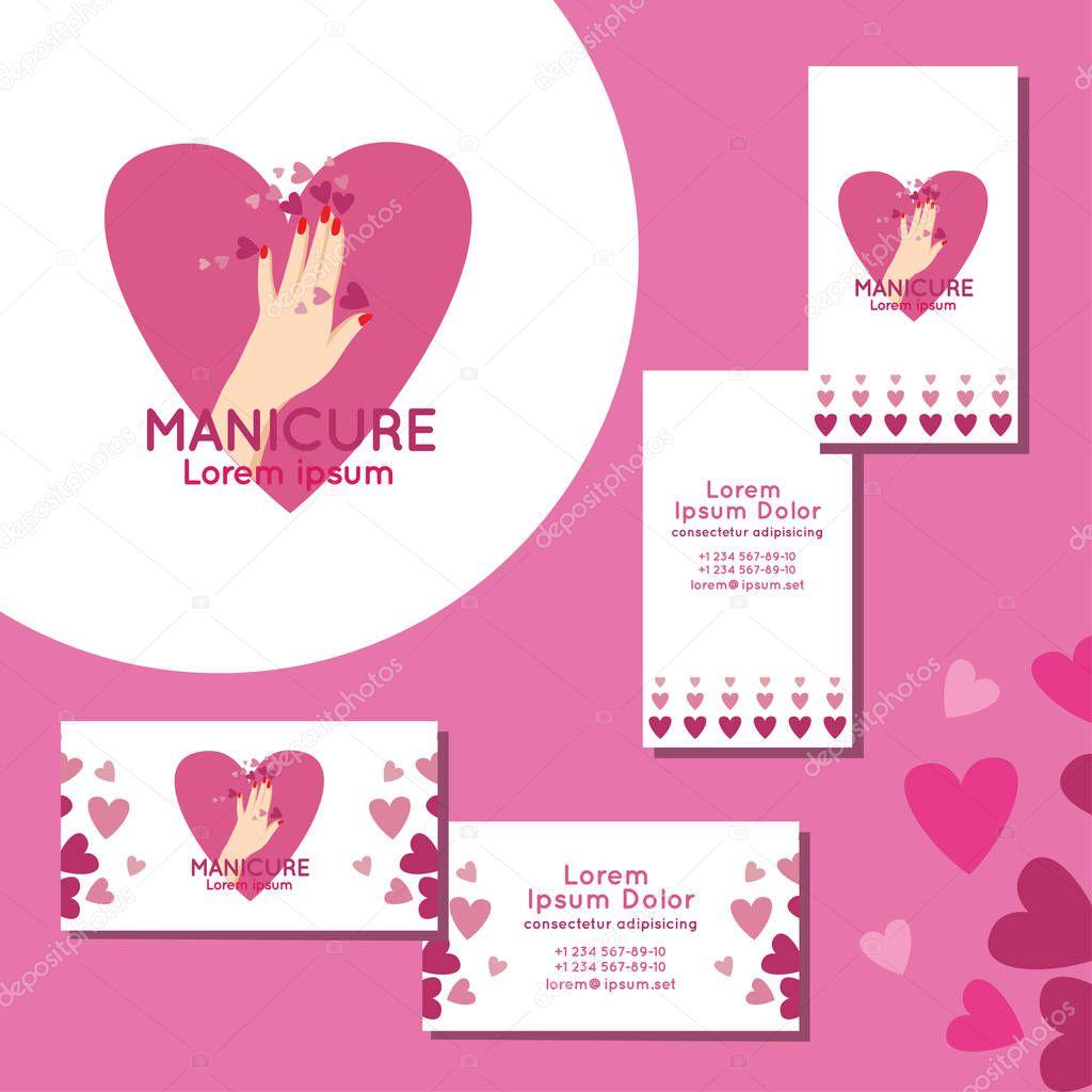 Jeu De Cartes Visite Pour Manucure Logo Vecteur Par