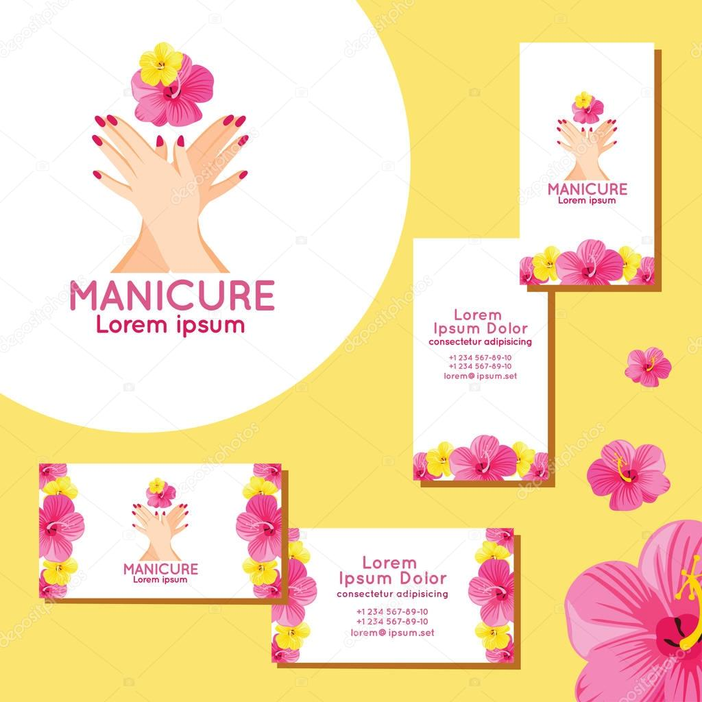 Manicure logo. Set of business cards for manicure. — Stock Vector ...