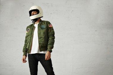 male model in motorcycle helmet
