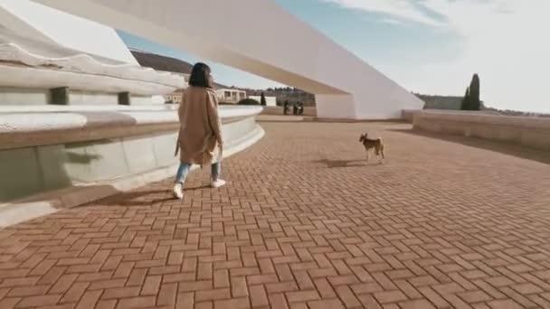 Atraktivní dívka chodí se psem