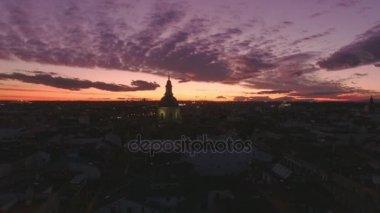Amazing night time sunset over city