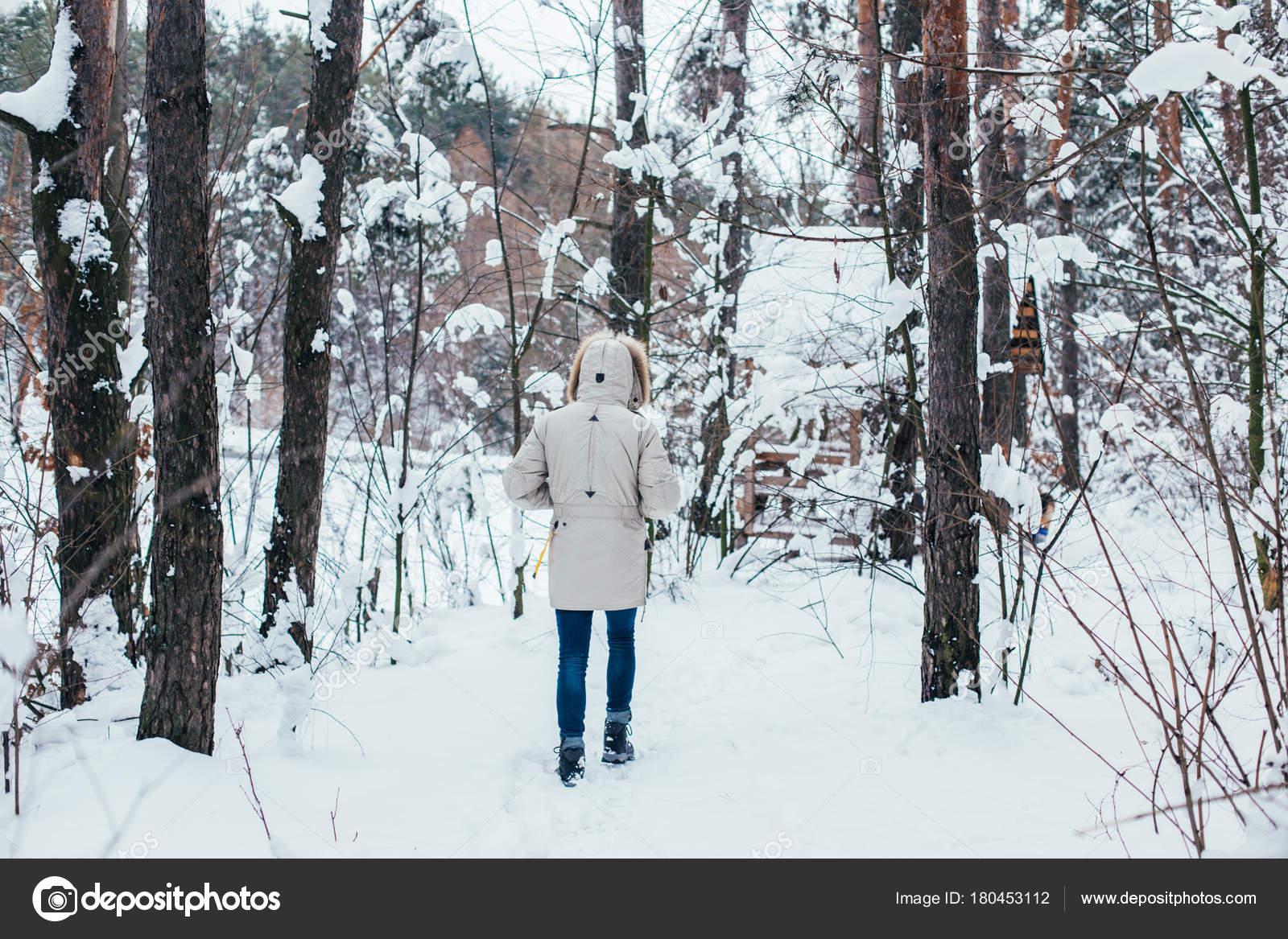 Portrait Person Winter Jacket Furry Hood Walking Snowy