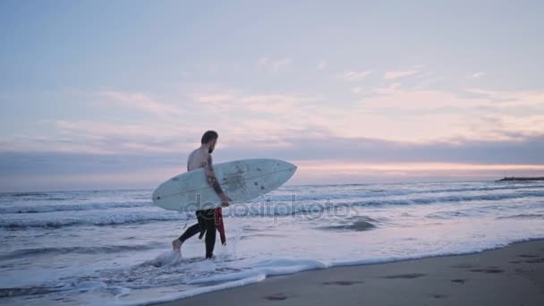 Surfer walks with his surf board on seashore at sunset