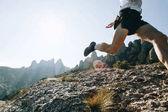Fotografia Irriconoscibile atleta o sportivo appassionato con forti zampe con muscoli viene eseguito attraverso il sentiero di montagna di terreni più duri su formazione maratona ultra trail o corsa, bellissimo parco naturale scenario