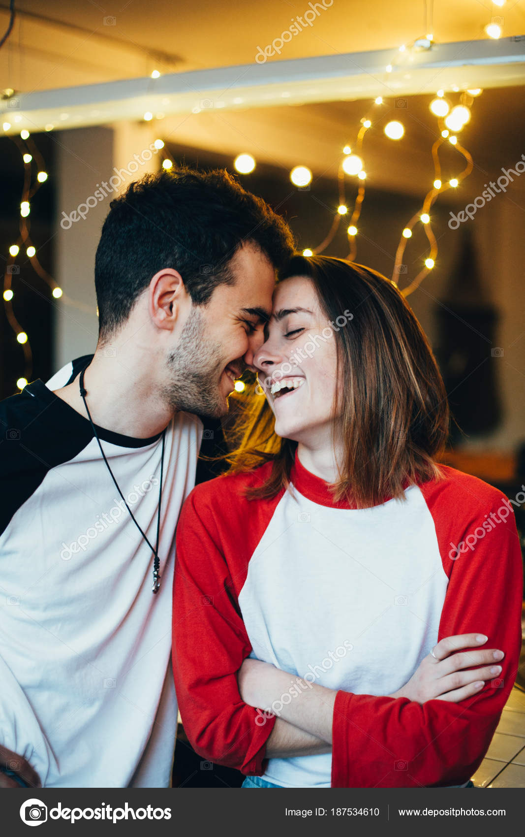 Happy Adorable Couple Cute Young Teenagers Millennials Laugh Smile Cuddle Stock Photo C Derepente 187534610