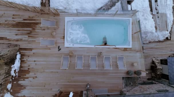 Drohne Schuss Winter Hotel Spa Außenpool