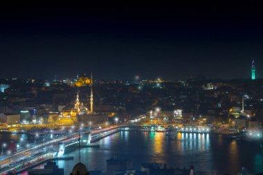Long exposure cityscape of Istanbul at a night. Galata bridge on
