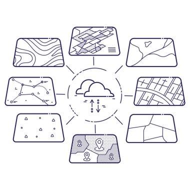 GIS Data Layers Cloud Concept