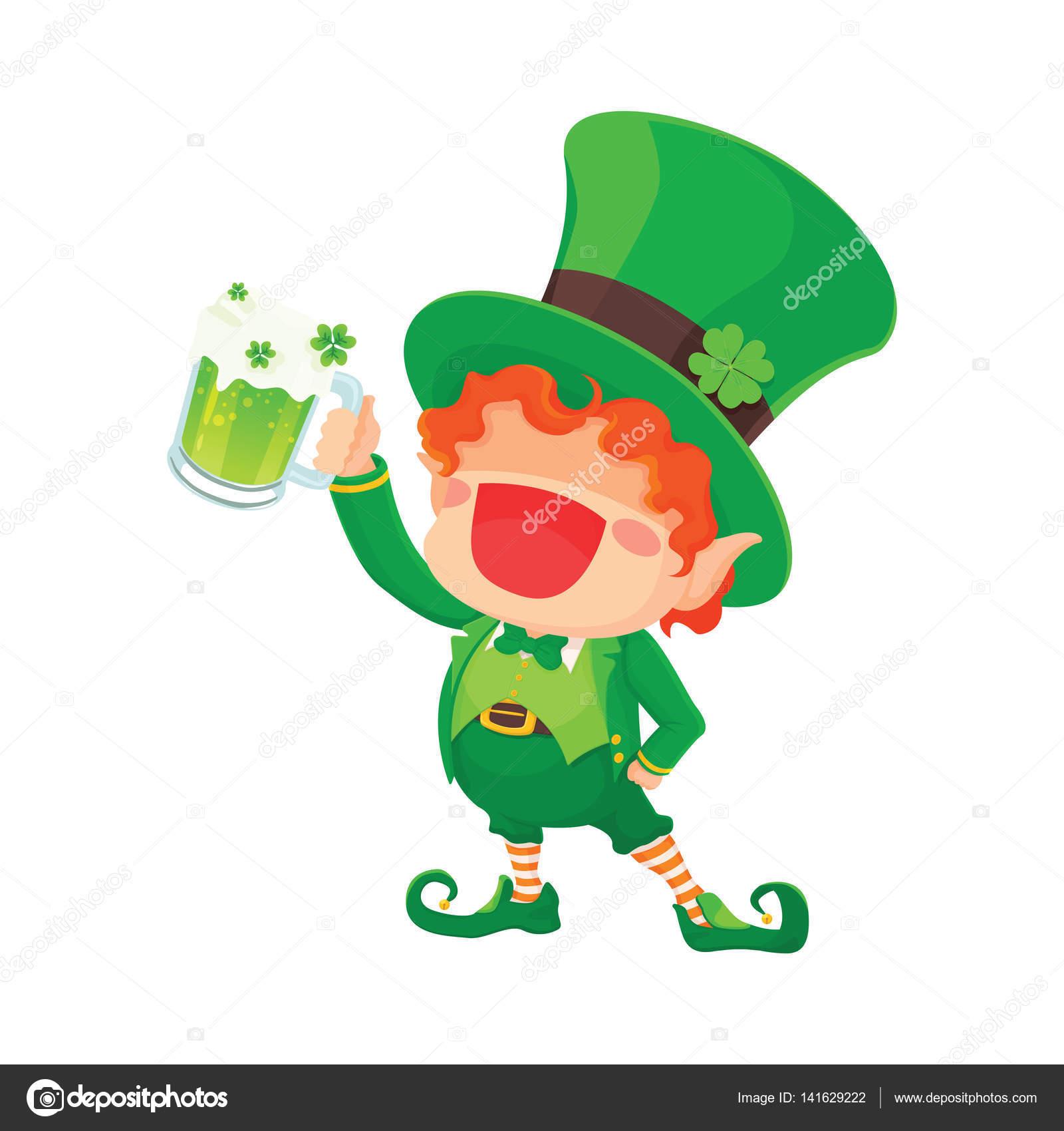 St. Patricks Tag glücklich Kobold hält Bier — Stockvektor © naschy ...