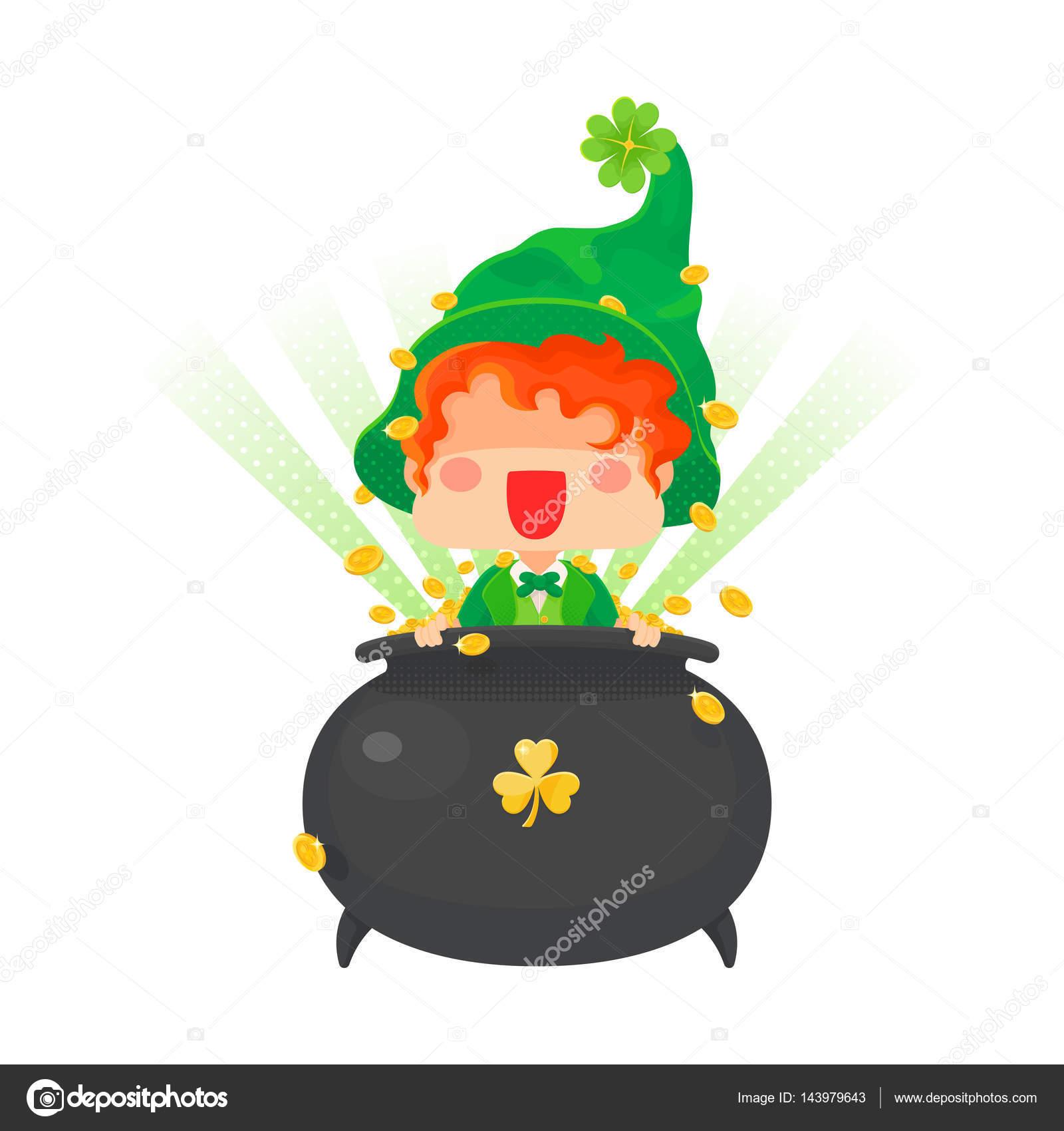 Día duende feliz San Patricio con la olla de oro — Vector de stock ...