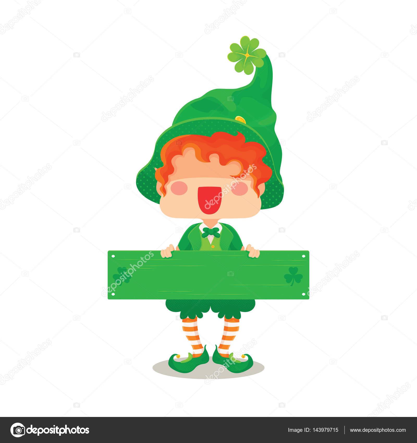 Glücklich St. Patricks Tag Kobold Gruß Zeichen — Stockvektor ...