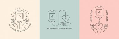 Blood donation vector logo in minimal linear style, illustration isolated on white background. icon