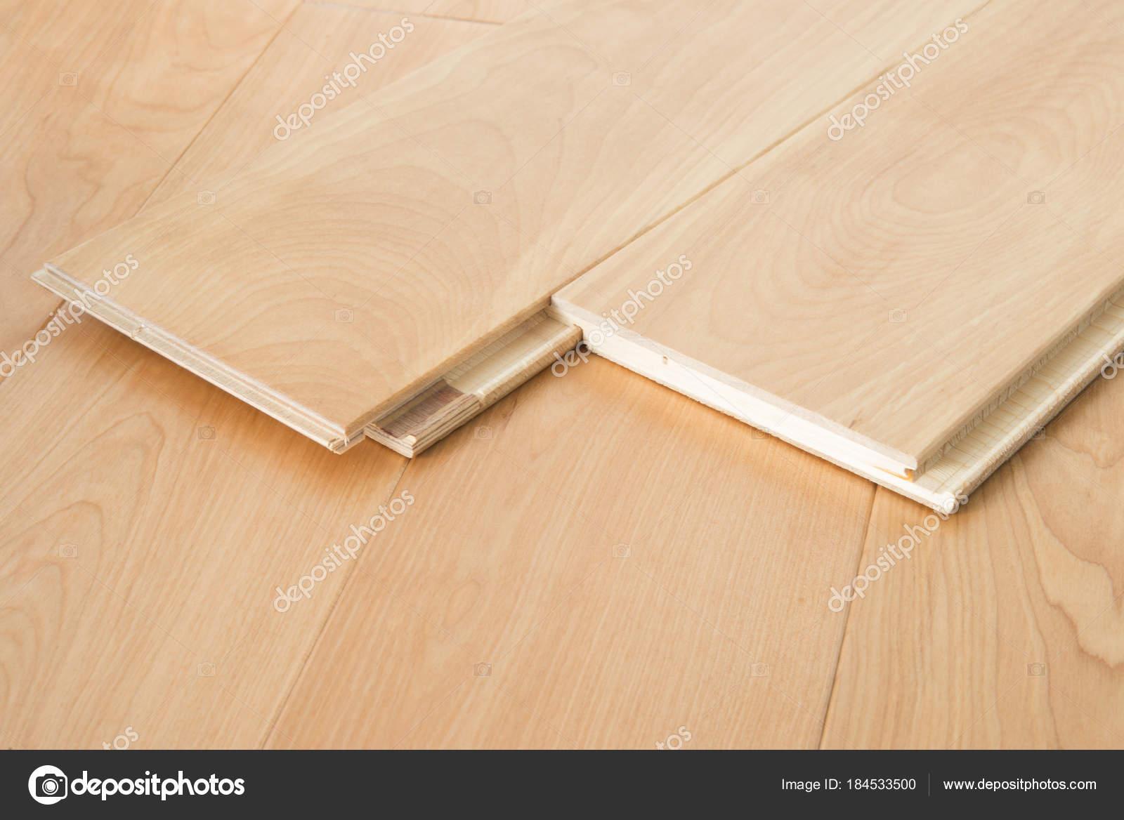 Wooden Laminate Flooring Boards Stock Photo