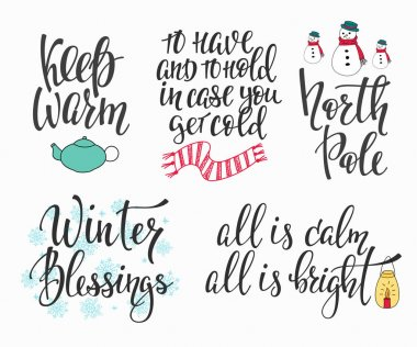 Hello Winter season typography set