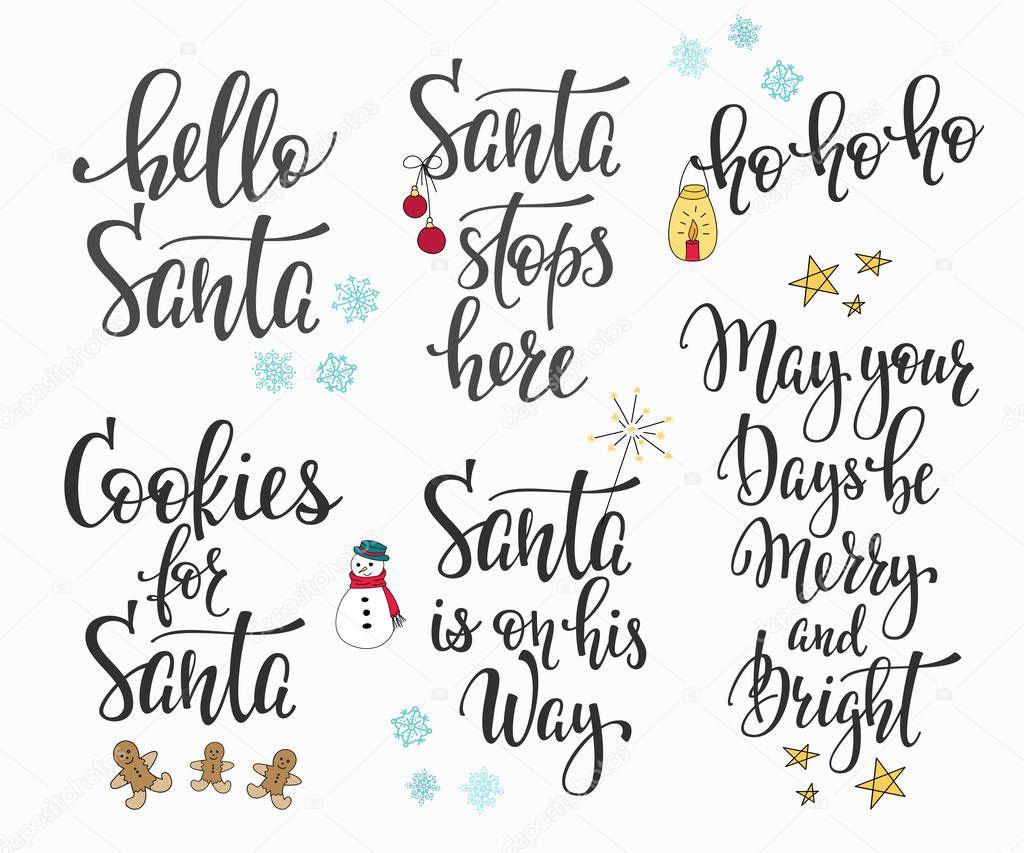 Christmas Lettering.Christmas Lettering Typography Set Stock Vector C Lenaro