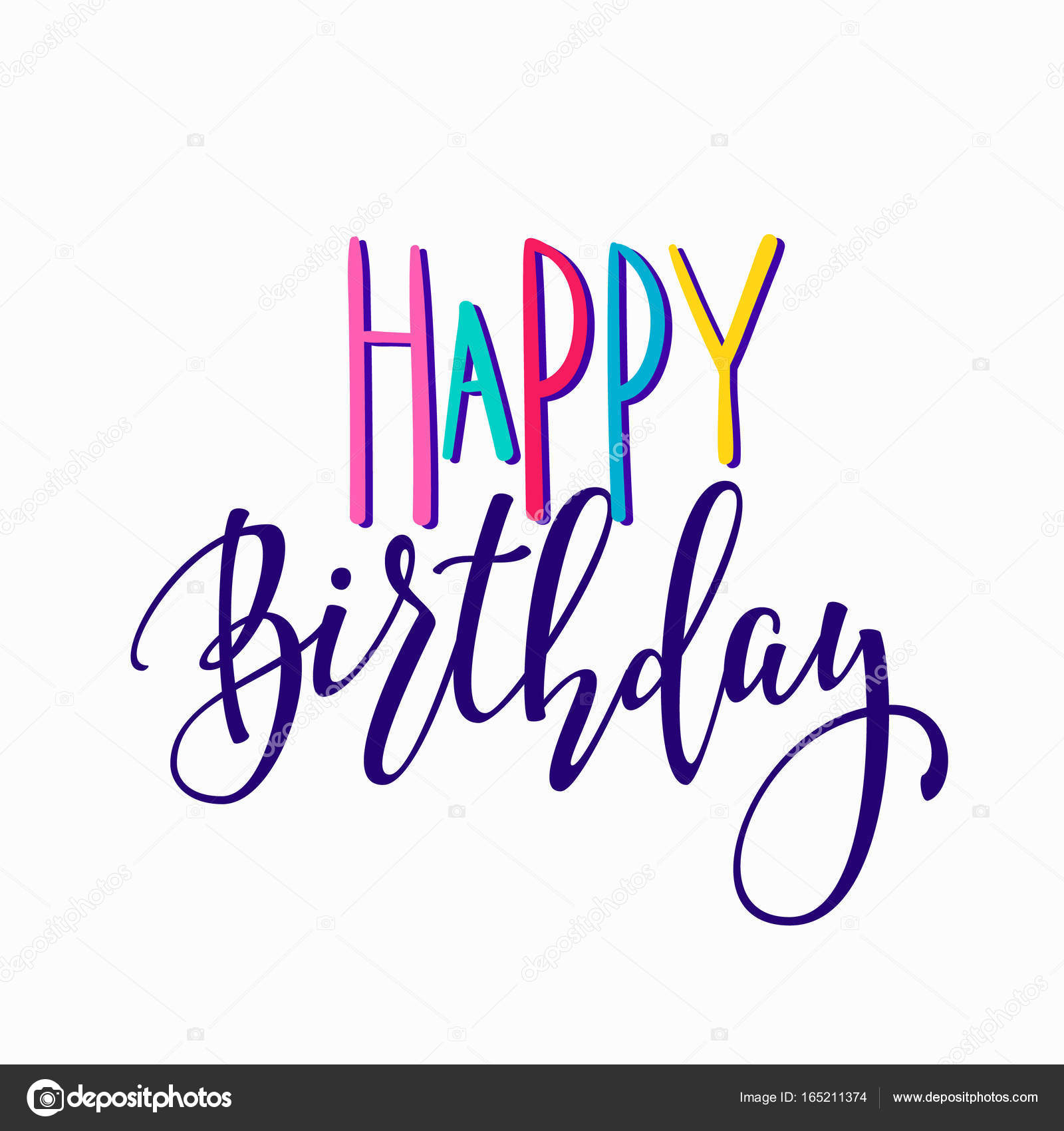Happy Birthday Party Lettering Sign Quote Typography Calligraphy Design For Postcard Poster Graphics Simple Vector Brush Card Colored Element