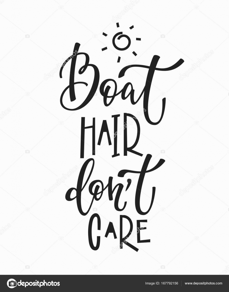 Boat Hair Dont Care Quote Lettering Stock Vector Lenaro 167792156