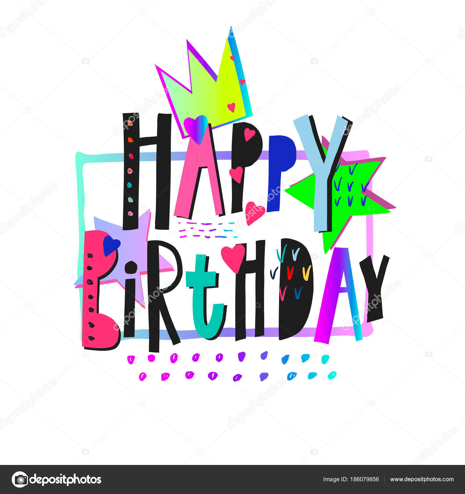 Happy Birthday Party Lettering Sign Quote Typography Set Calligraphy Design For Postcard Poster Graphics Simple Vector Brush Card Colored Element