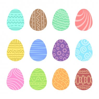 Set easter egg with ornament. Pack icon simple easter egg icon