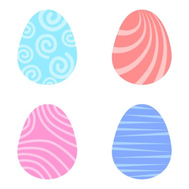 Set easter egg with curly ornament. Pack icon simple easter egg icon