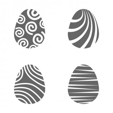 Set easter egg with curly ornament. Pack icon silhouette easter egg icon