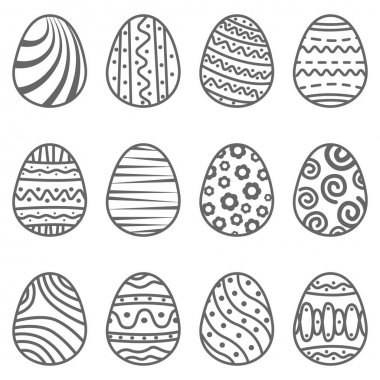 Set easter egg with curly ornament. Pack icon line easter egg icon