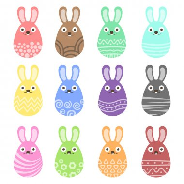 Set easter bunny egg with ornament. Pack icon colorful bunny egg icon