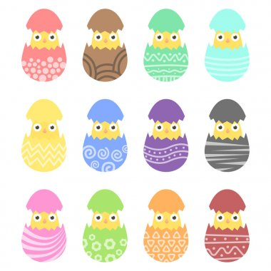 Set easter chiken in egg with ornament. Pack icon colorful chik in egg icon