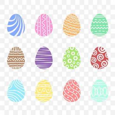 Set easter egg with ornament. Pack icon simple easter egg on transparent background icon