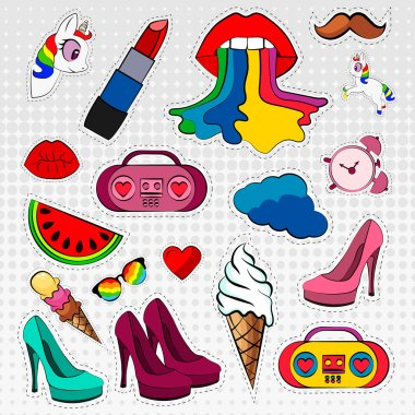 Vector icons set of stickers in different colors 80s 90s in comic style
