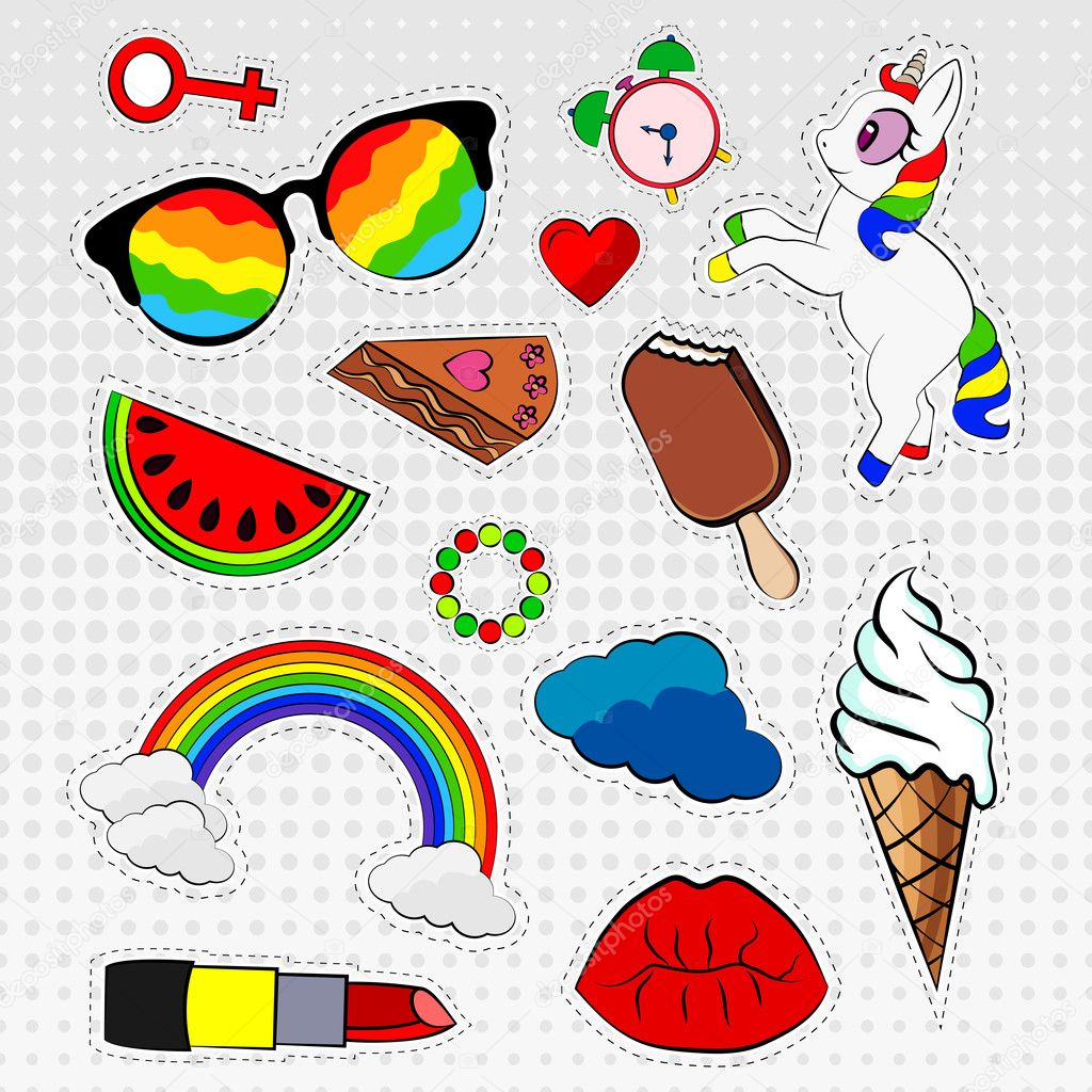 Vector set of stickers, labels, badges colorful icons, unicorn, rainbow, color,