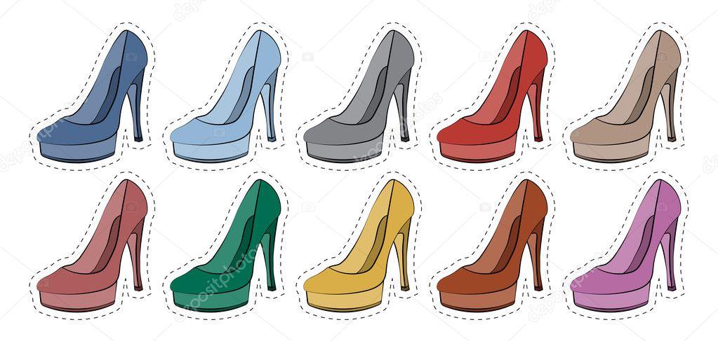 Vektor Set Aufkleber Abzeichen Weiblichen Schuhe In Verschiedenen