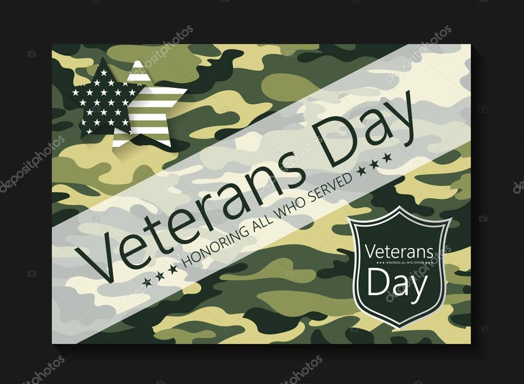 Template brochure Veterans Day in color khaki