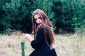 Fényképek Gyönyörű barna lány pózol, a fenyves erdő