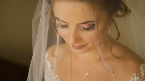 Portrait of a bride in wedding dress.