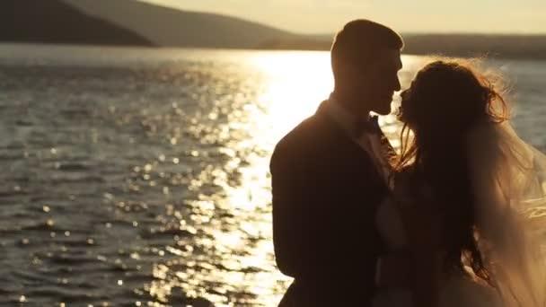 Portrait eines frisch vermählten Paares an einem grünen, sonnigen Ort auf dem Land.