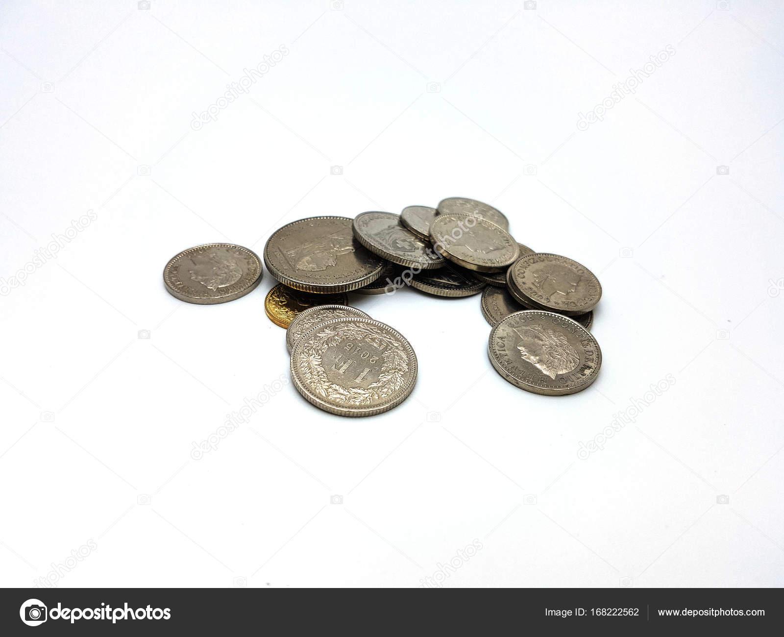 Schweizer Franken Münzen Stack Stockfoto Arraymax 168222562
