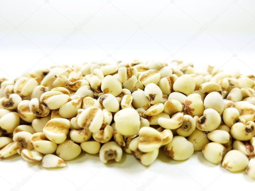 Job's tears beans on white background