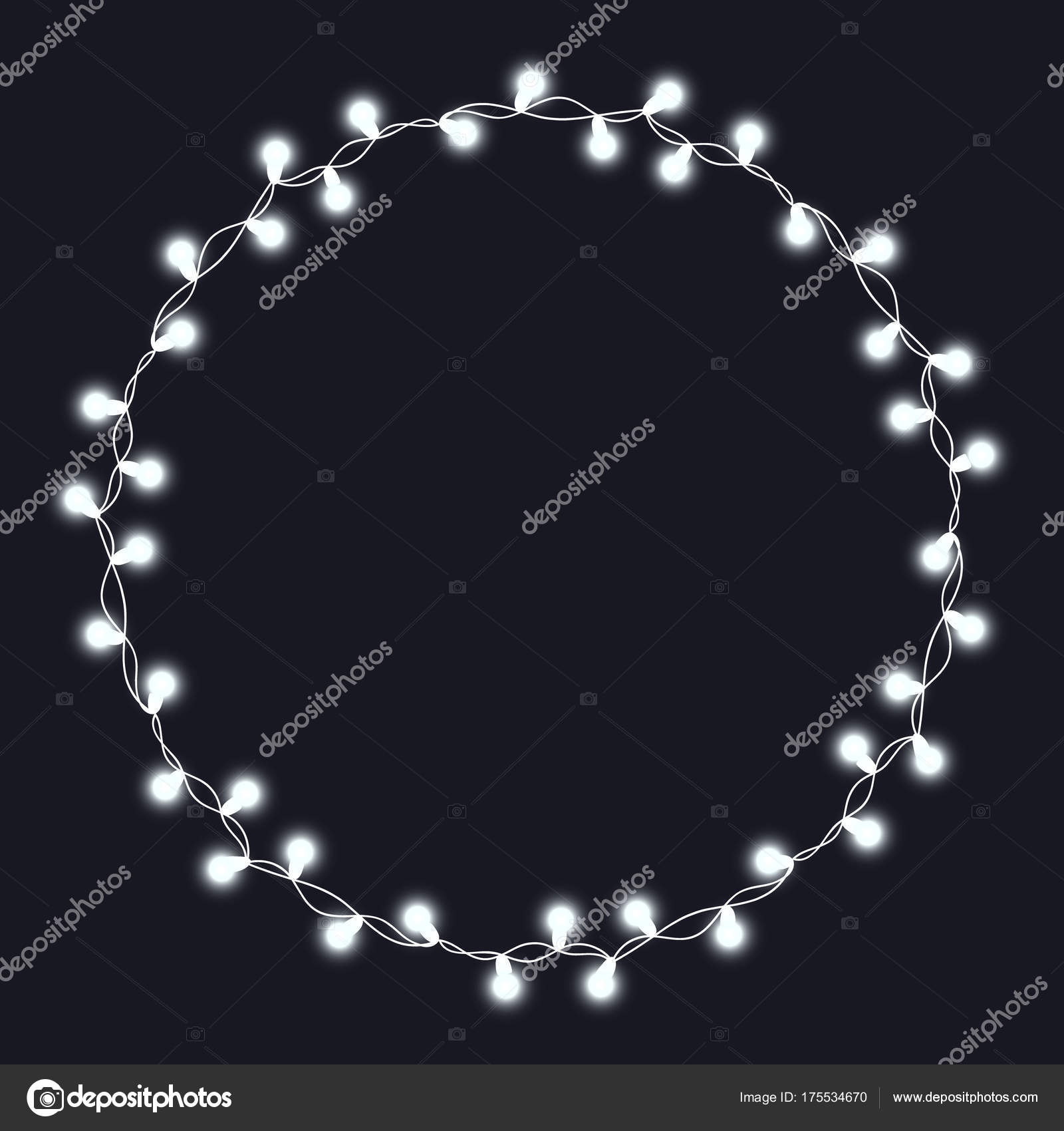 Christmas Tree String Garland In Circle Shape And Text Space Isolated On Dark Background Realistic