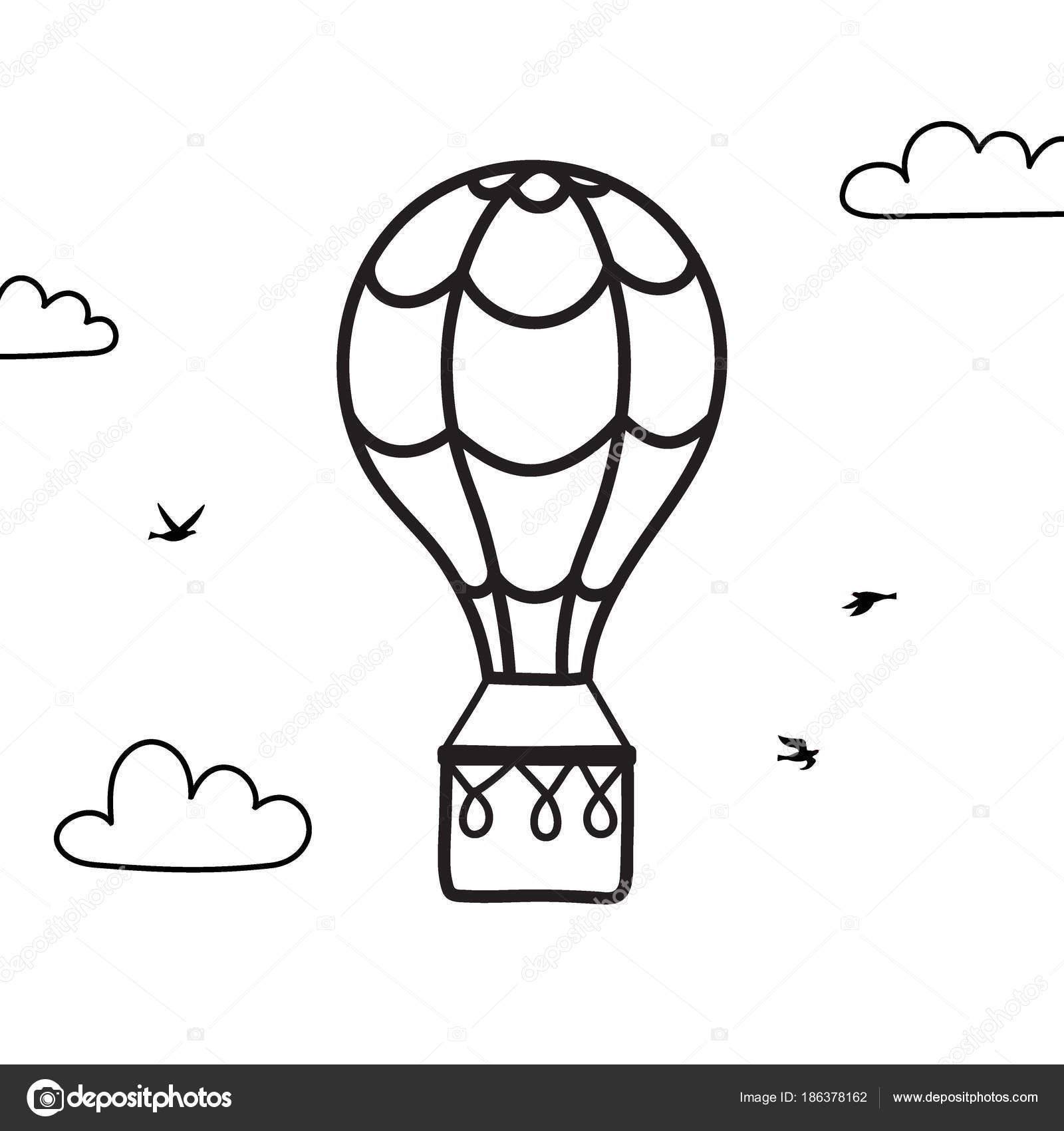Vector globo de aire caliente de contorno, nube, pájaro — Vector de ...