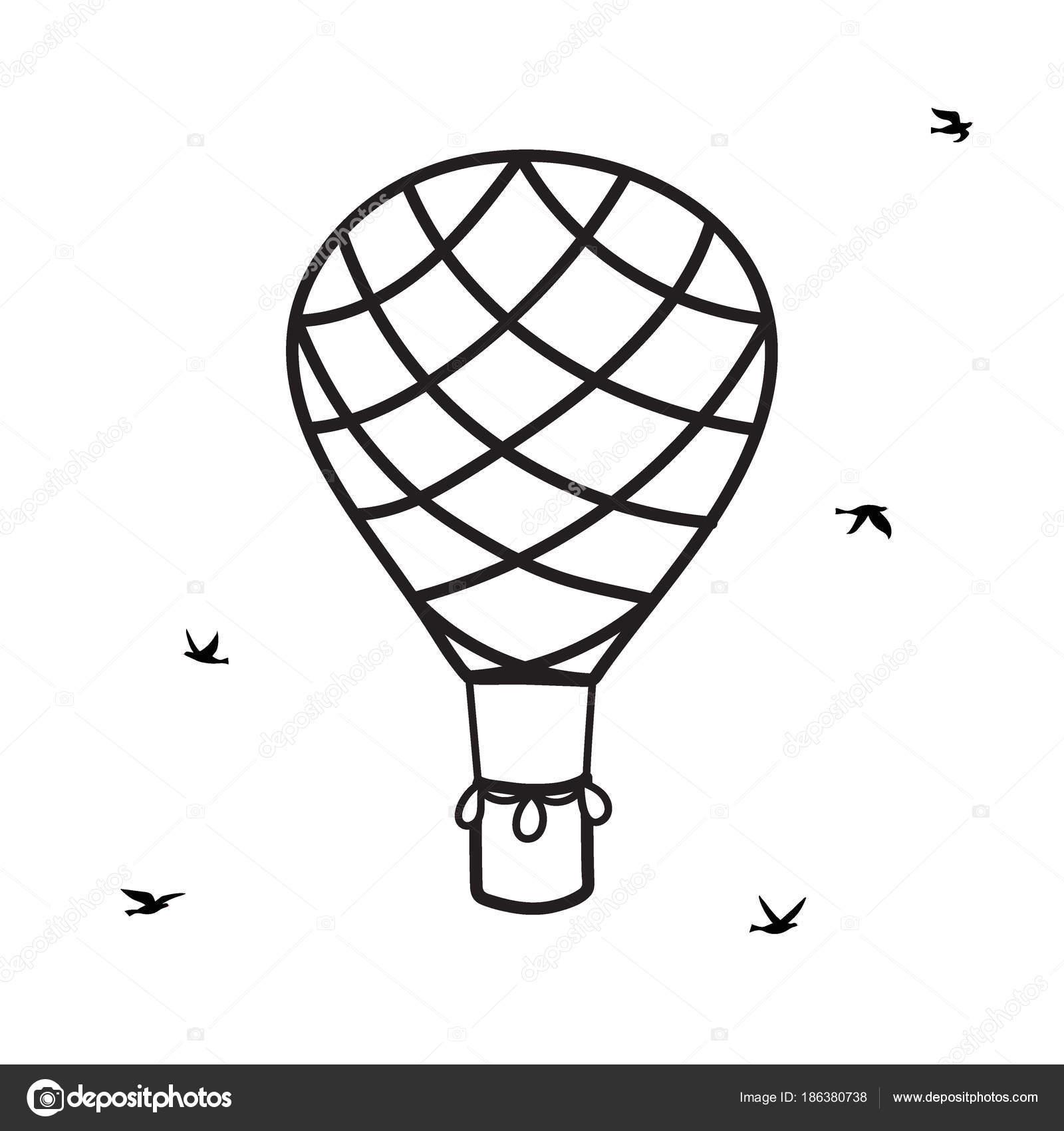 balão de ar quente de contorno de vetor com pássaros vetores de