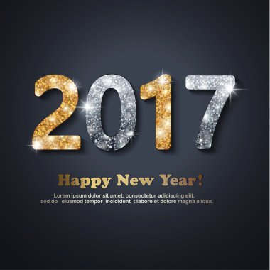 The gold and silver glitter New Year 2017 text in modern style on a black background