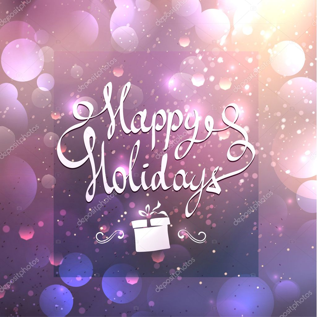 Swirled happy holidays text on a blurred background with soft lilac colors and fine sparkles of light. Merry Christmas and Happy New Year card.