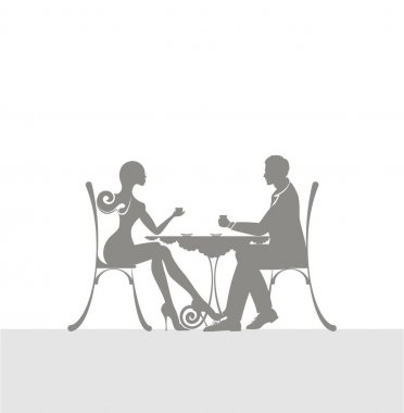the icon of cute couple of man and woman sitting in a cafe. The icon of pleasant meeting and love atmosphere.
