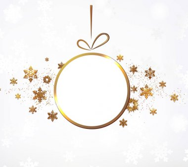 The gold glitter winter holiday border.  frame in shape of the christmas toy  for your text with modern snowflakes behind it.