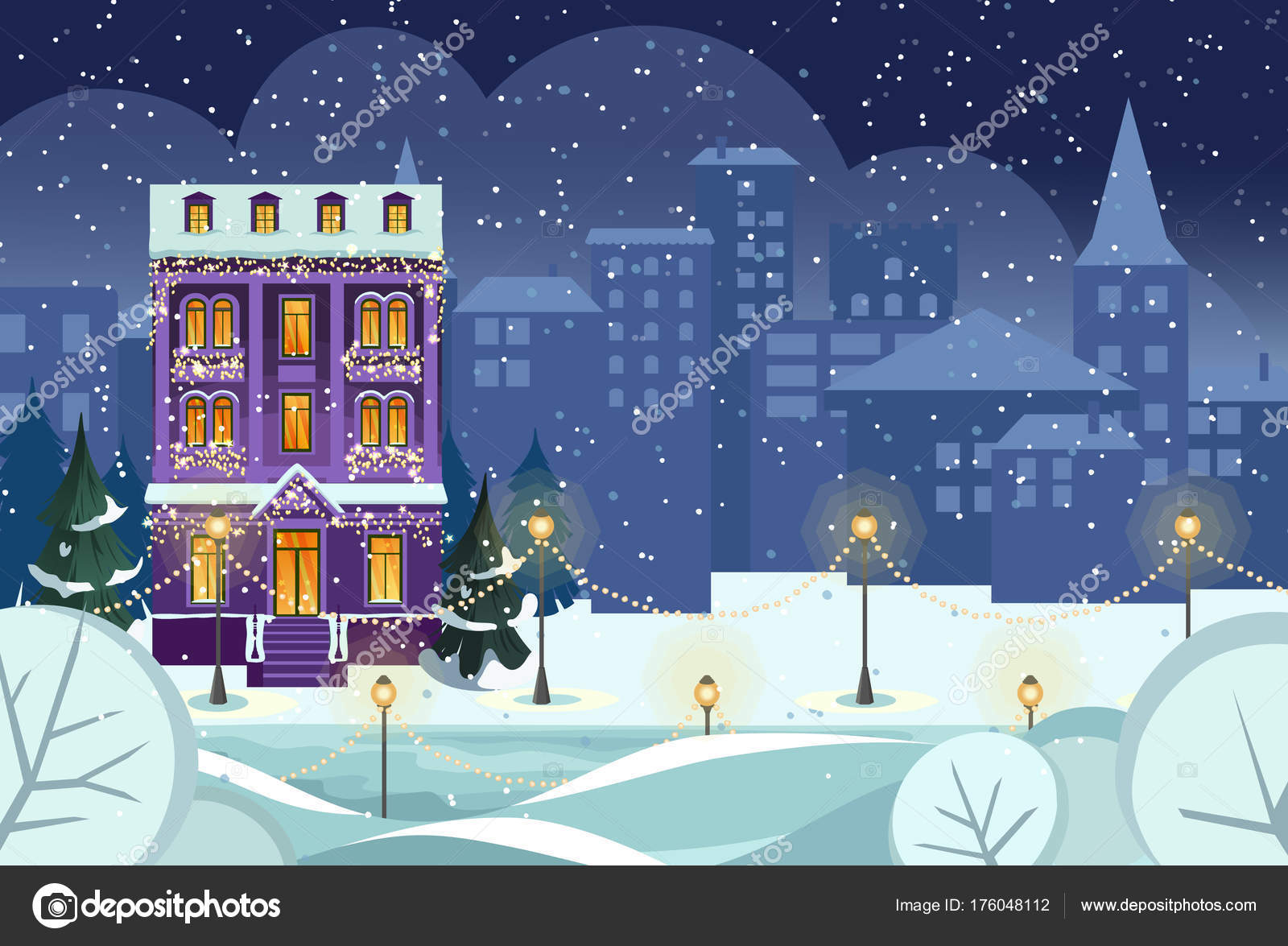 merry christmas happy new year snowy city background winter city stock vector