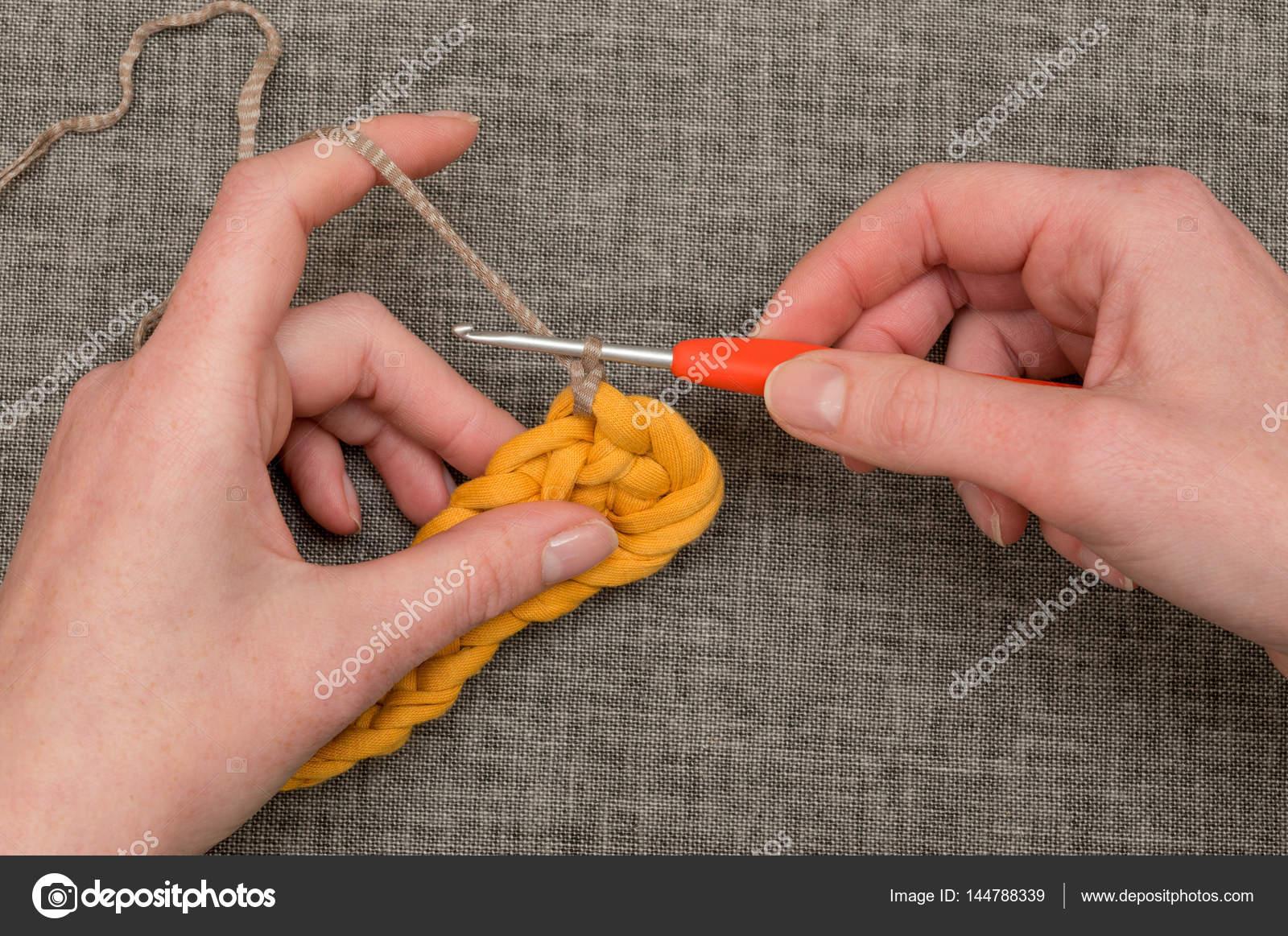 Hand Braunen Wolle Durch Patch Gestrickt Orange Wolle Häkeln